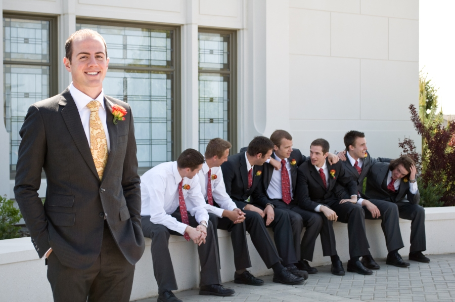 salt-lake-city-temple-lds-bride-groom-wedding-photography-portrait-groom-groomsmen-bridal-party-talking-chatting
