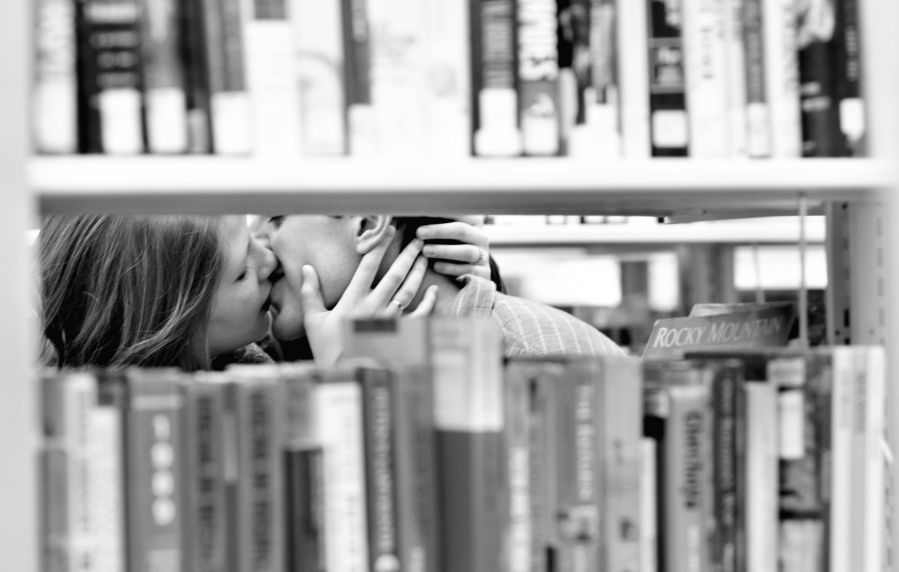 kissing-stacks-books-secret-Tooele-Salt-Lake-City-Utah-Portrait-Wedding-Photography-Photographer-Bride-groom-engagements