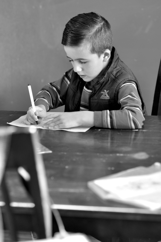 Black & White, portrait, boy, homework