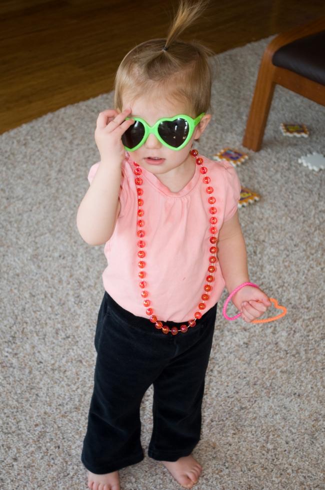 Girl, child, sunglasses, snapshot